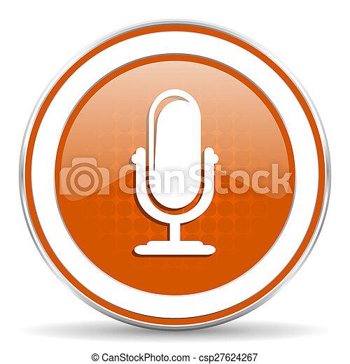 オレンジ, マイクロフォン, podcast, アイコン, 印 - csp27624267