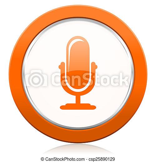 オレンジ, マイクロフォン, podcast, アイコン, 印 - csp25890129