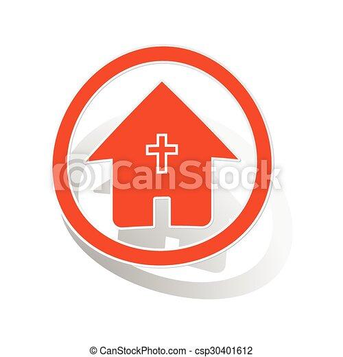 オレンジ, 家, ステッカー, キリスト教徒, 印 - csp30401612