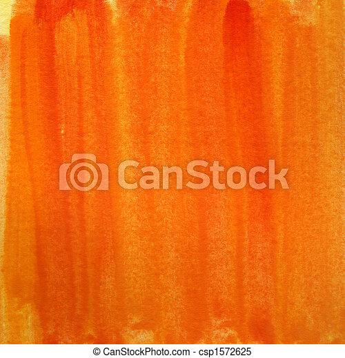オレンジ, 水彩画, 黄色の背景 - csp1572625