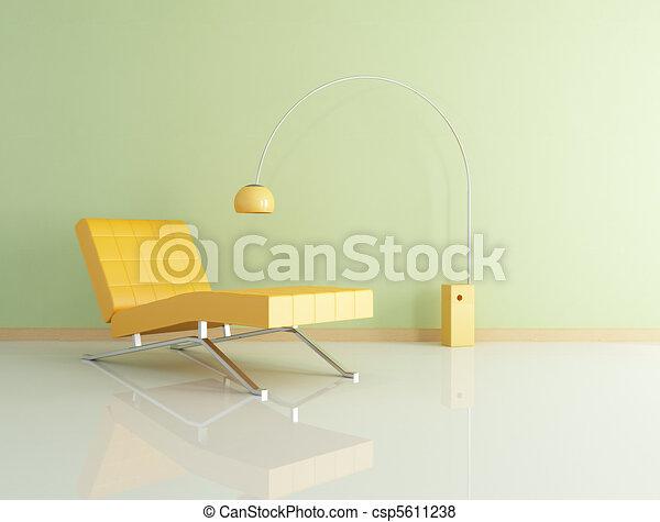 オレンジ, 長椅子 - csp5611238