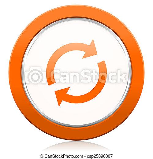 オレンジ, reload, アイコン, 新たにしなさい, 印 - csp25896007
