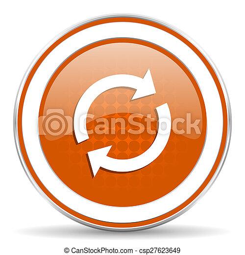 オレンジ, reload, アイコン, 新たにしなさい, 印 - csp27623649