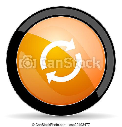 オレンジ, reload, アイコン, 新たにしなさい, 印 - csp29493477