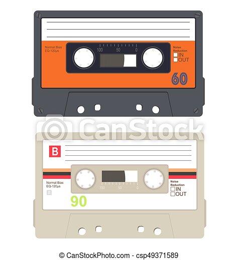 カセットテープ コレクション セット 隔離された バックグラウンド