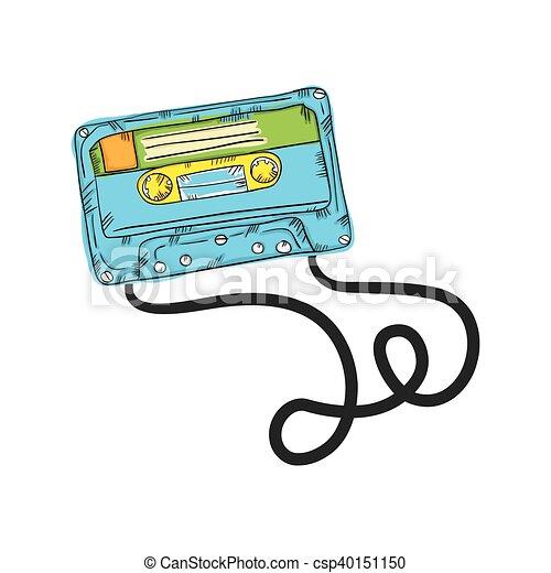 カセットテープ レトロ ドロー 型 ステレオ イラスト ベクトル