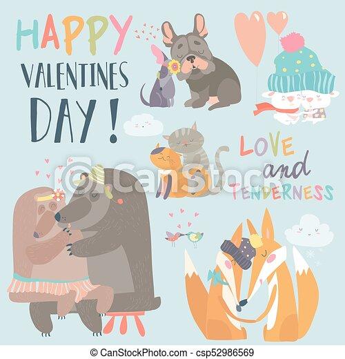 カップル かわいい 愛 動物 コレクション かわいい 動物 Postcard