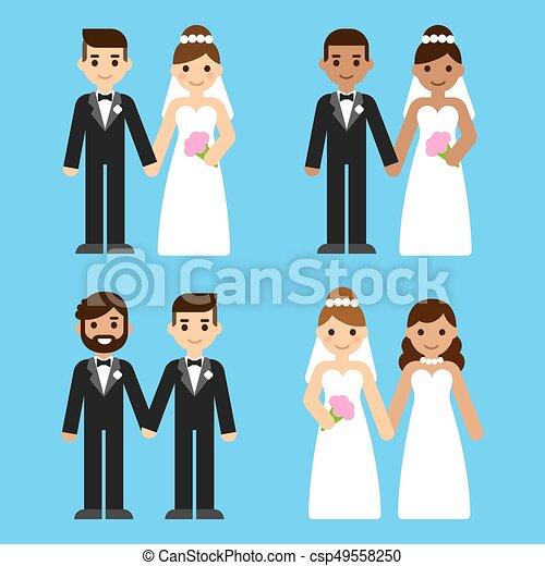 カップル, セット, 漫画, 結婚式 - csp49558250