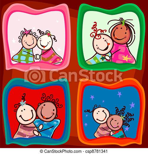 カップル, 微笑, 子供 - csp8781341