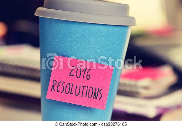 カップ, テキスト, 付せん, resolutions, 2016 - csp33276185