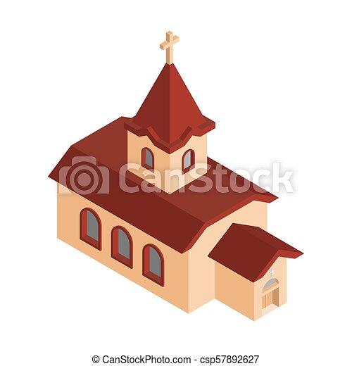 カトリック教, キリスト教徒, 家, religion., イラスト, ベクトル, 教会, isometrics - csp57892627