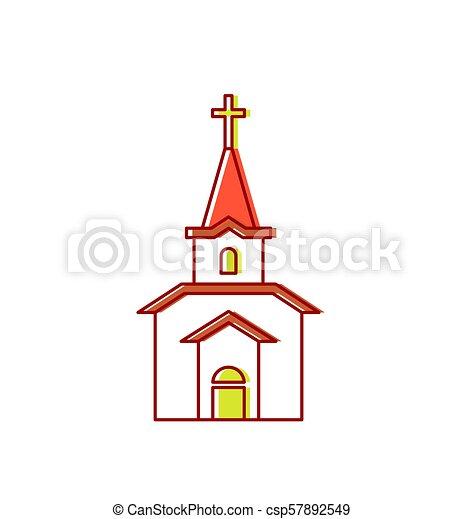 カトリック教, キリスト教徒, 家, religion., イラスト, 印, ベクトル, 教会 - csp57892549