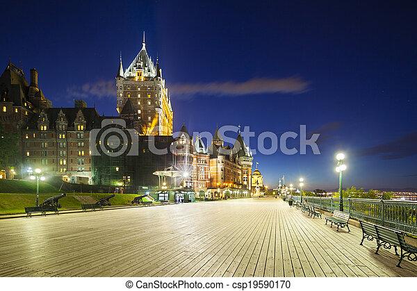 カナダ, 都市, frontenac, ケベック, 城, 夜 - csp19590170