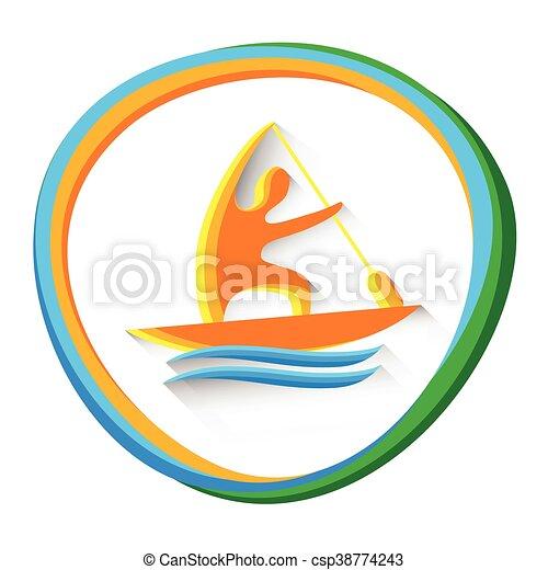 カヌー, 運動選手, 競争, スプリント, スポーツ, アイコン - csp38774243