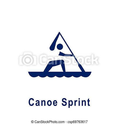 カヌー, pictogram, 新しい, スプリント, スポーツ, icon. - csp69763617