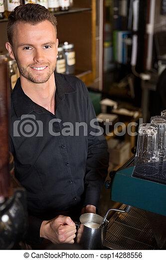 カフェ, バーテンダー, 若い, 仕事, ハンサム - csp14288556