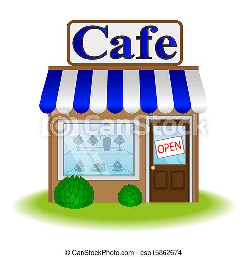 カフェ, ファサド, アイコン, ベクトル - csp15862674
