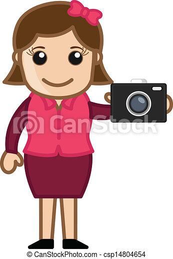 カメラ 女子販売員 提出すること ベクトル 芸術 若い イラスト