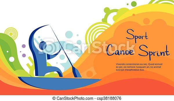 カラフルである, カヌー, 運動選手, 競争, スプリント, スポーツ, 旗 - csp38188076