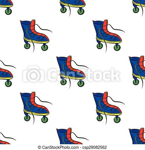 カラフルである, パターン, レトロ, 背景, スケート, 白, ローラー - csp29082562