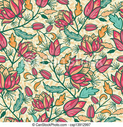 カラフルである, パターン, 葉, seamless, 背景, 花 - csp13912997