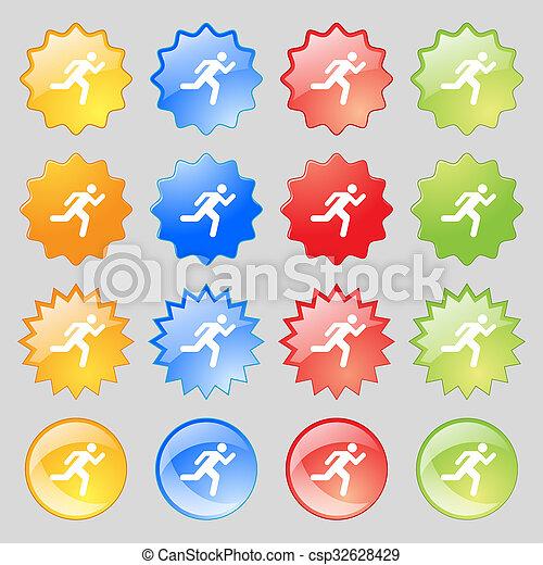 カラフルである, ボタン, あなたの, 現代, 16, 人, アイコン, セット, 印。, 動くこと, 大きい, design. - csp32628429