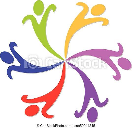 カラフルである, 人々, ベクトル, チームワーク, ロゴ, 幸せ - csp59044345