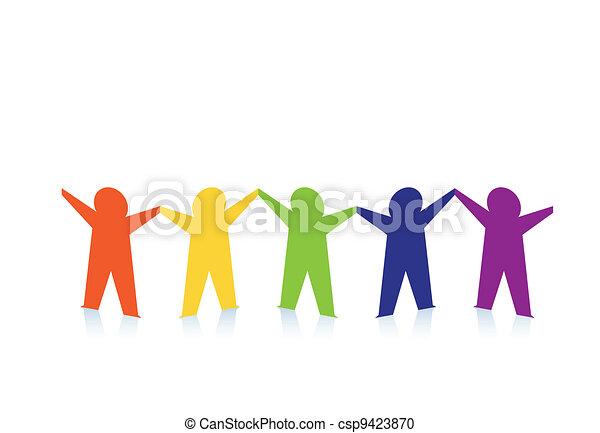 カラフルである, 人々, 抽象的, ペーパー, 隔離された, 白 - csp9423870