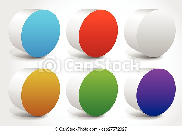 カラフルである, 形, 抽象的, editable, 円筒状である, vector., シリンダー - csp27572027