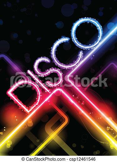 カラフルである, 抽象的, ライン, ディスコ, 黒い背景 - csp12461546