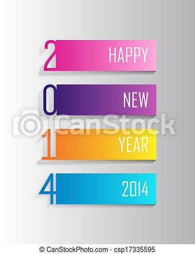カラフルである, 新しい, ラベル, イラスト, 年, 2014, 幸せ - csp17335595