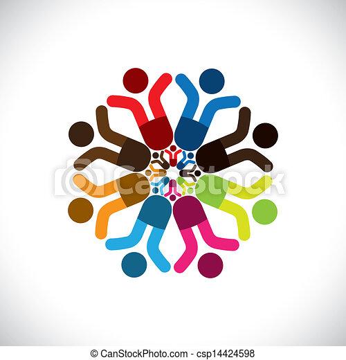 カラフルである, 概念, 共同体, 遊び, 友情, 従業員, ショー, ベクトル, 子供, &, 共用体, 祝う, 多様性, icons(signs)., 共有, 子供, 労働者, 抽象的, イラスト, graphic-, のように, 概念, ∥など∥ - csp14424598