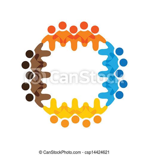カラフルである, 概念, 共同体, 遊び, 友情, 従業員, ベクトル, 子供, &, 学校, 共用体, 多様性, チーム, 表す, 共有, icons(signs)., 労働者, 子供, イラスト, graphic-, のように, 概念, ∥など∥ - csp14424621