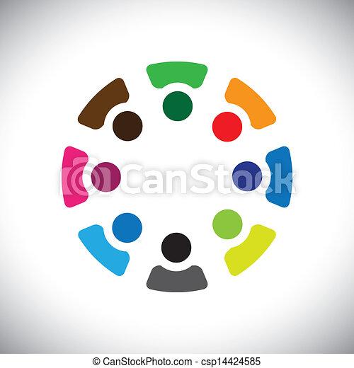 カラフルである, 概念, 共同体, 遊び, 友情, 従業員, 会社, ショー, ベクトル, &, 従業員, 共用体, 多様性, icons(signs)., 共有, 共有, 子供, 労働者, 抽象的, イラスト, graphic-, のように, 概念, ∥など∥ - csp14424585