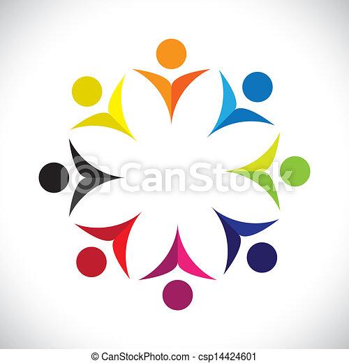 カラフルである, 概念, 共同体, 遊び, 幸せ, 友情, 従業員, ベクトル, 子供, &, 共用体, 多様性, 表す, 共有, icons(signs)., 子供, 労働者, 抽象的, イラスト, graphic-, のように, 概念, ∥など∥ - csp14424601