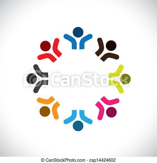 カラフルである, 概念, 共同体, 遊び, 幸せ, 友情, 従業員, 人々, ベクトル, &, 共用体, 多様性, 表す, 共有, icons(signs)., 子供, 労働者, 抽象的, イラスト, graphic-, のように, 概念, ∥など∥ - csp14424602