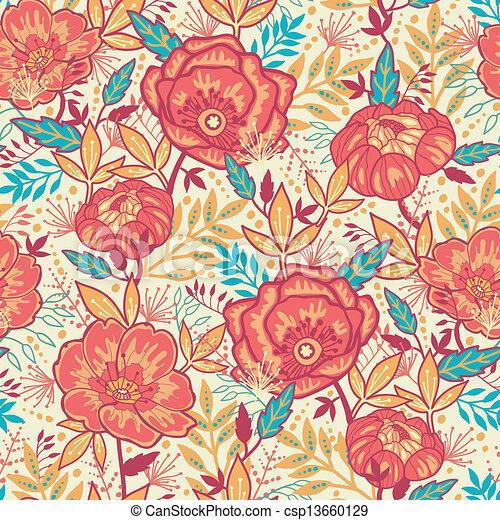 カラフルである, 活気に満ちた, seamless, 背景 パターン, 花 - csp13660129