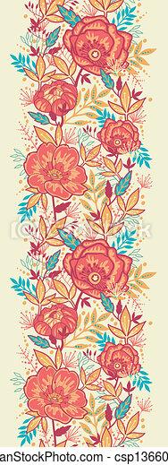 カラフルである, 縦, 活気に満ちた, seamless, パターン, 花, ボーダー - csp13660219