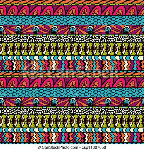 カラフルである, 装飾, pattern., seamless, ベクトル, 民族性 - csp11887658