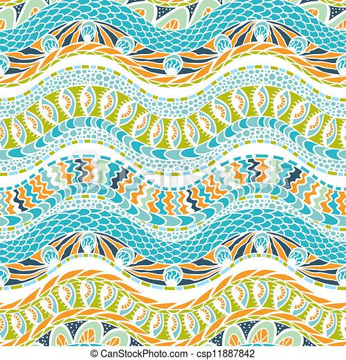 カラフルである, 装飾, pattern., seamless, ベクトル, 民族性 - csp11887842