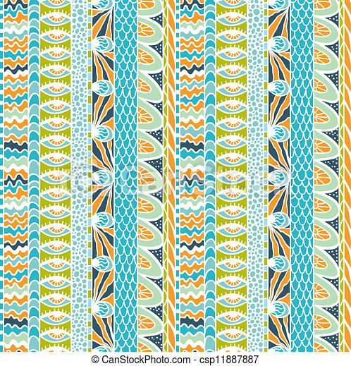 カラフルである, 装飾, pattern., seamless, ベクトル, 民族性 - csp11887887