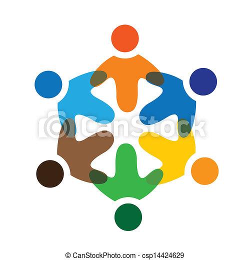 カラフルである, 遊び, 概念, 共同体, 遊び, 友情, 従業員, ベクトル, 子供, &, 学校, 共用体, 多様性, 表す, 共有, icons(signs)., 労働者, 子供, イラスト, graphic-, のように, 概念, ∥など∥ - csp14424629