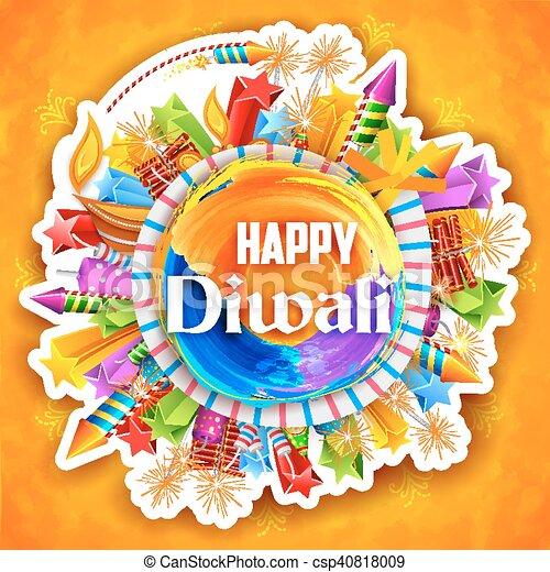カラフルである, diya, 火, ライト, diwali, クラッカー, 水彩画, 祝祭, 背景, インド, 幸せ - csp40818009