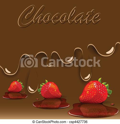カラメル, チョコレート, いちご - csp4427736