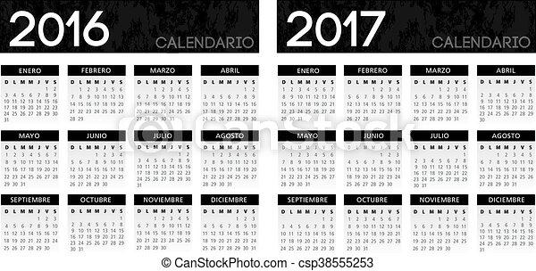 カレンダー, スペイン語, 黒, textured - csp38555253