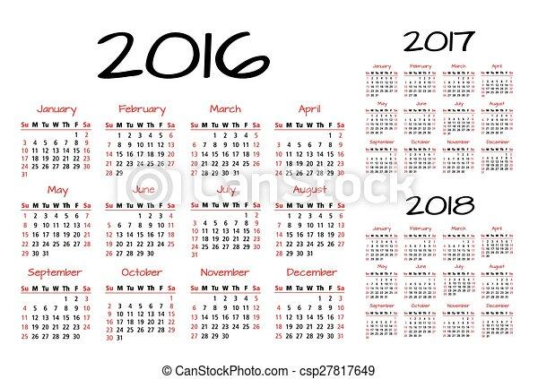 カレンダー, 2016-2017-2018, 英語 - csp27817649