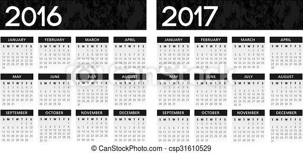 カレンダー, textured, 黒, 2016-2017 - csp31610529