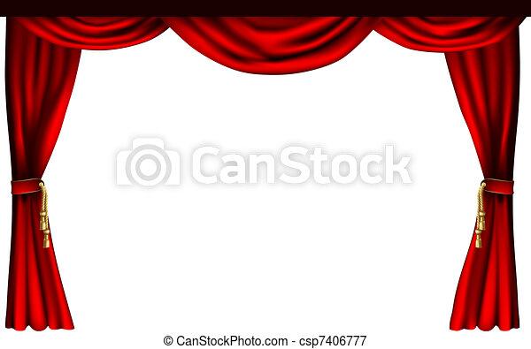 カーテン, ∥あるいは∥, 劇場, 映画館 - csp7406777