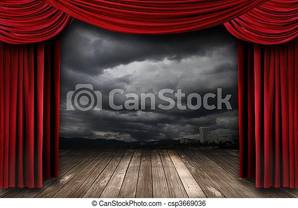 カーテン, ビロード, 明るい, 劇場, 赤, ステージ - csp3669036