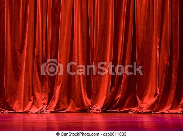 カーテン, ビロード, 赤, ステージ - csp0611603